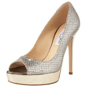 JIMMY CHOO 'Crown Glitter' Heels in Champagne